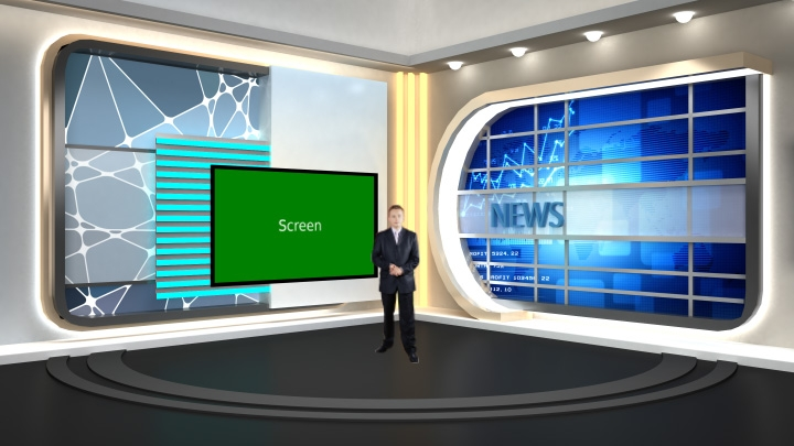 News Anchor Report Virtual Studio