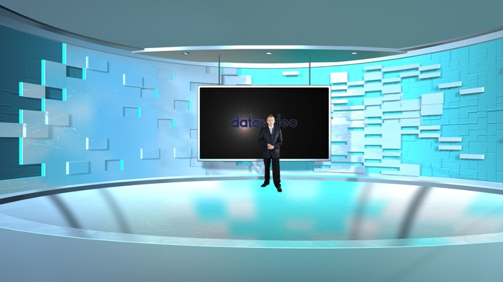 【TVS-2000A】Curved Space with Blue Square Decoration Virtual Set