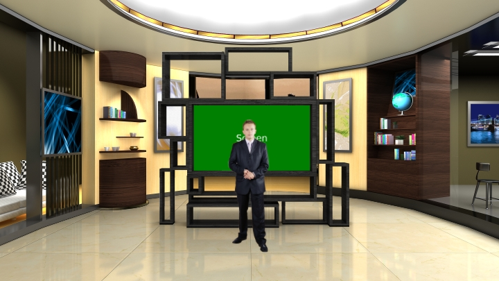 Square Shape Design TV Wall Virtual Set