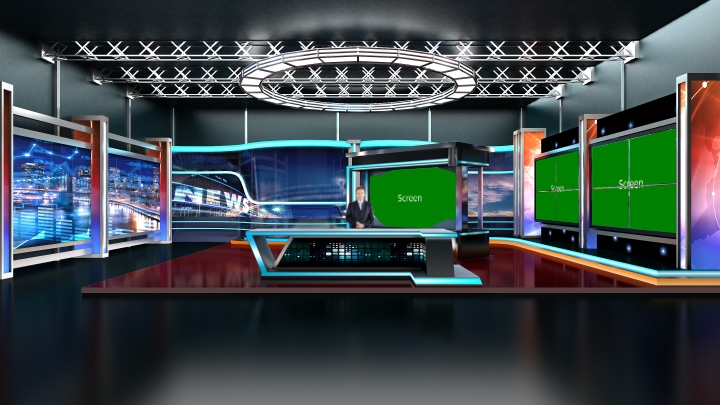 News with colorful neon light decoration Virtual Studio