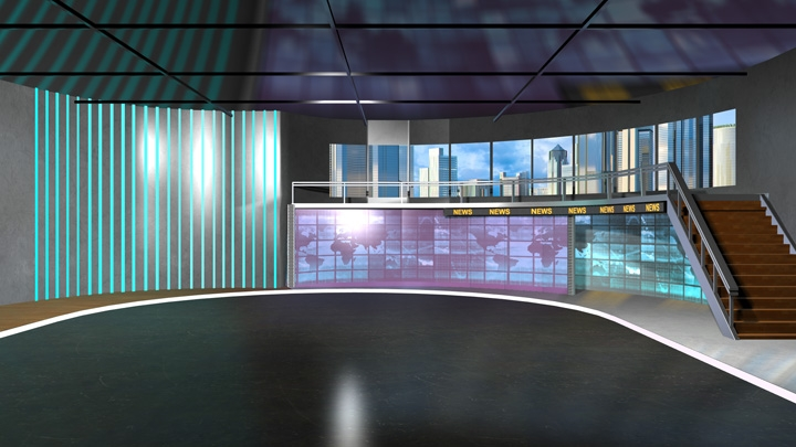 【TVS-2000A Template】 Second Floor Design Virtual News Studio