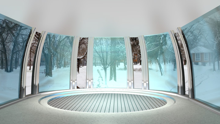 【TVS-2000A Template】Spacious Space with Snowy Background Virtual Studio
