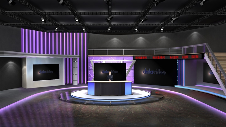 【TVS-2000A】Purple LED Light News Virtual Set