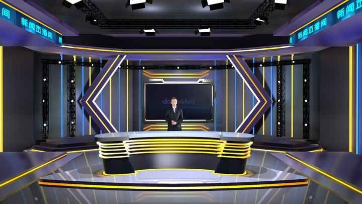 【TVS-2000A】Dark Fashion LED Lights News Studio