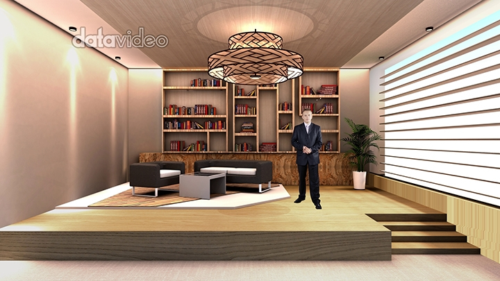 Bright home style talk show virtual set