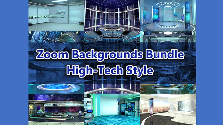 Zoom Virtual Backgrounds Bundle_High-tech style