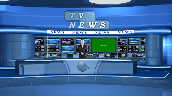 Blue deco News Virtual Set