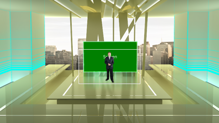 Presentation Room with City Background virtual set