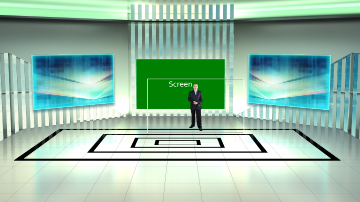 Presentation Room with Sky Background Virtual Set