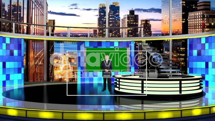 News with city view virtual set