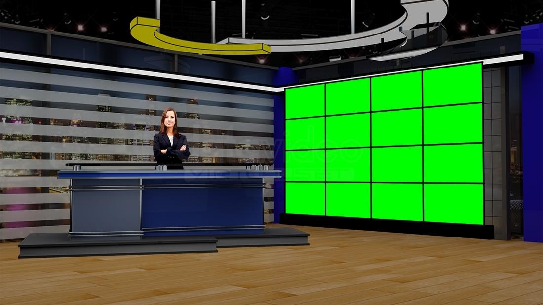 News 038 TV Studio Set Virtual Green Screen Background PSD