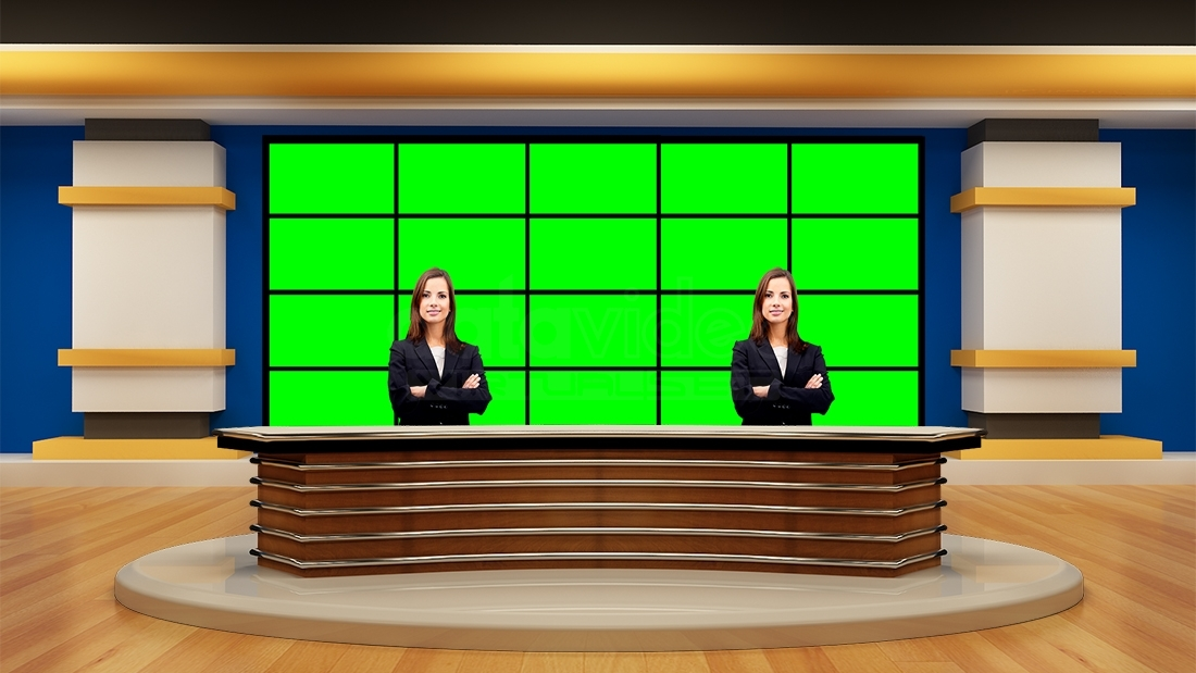 News 046 TV Studio Set Virtual Green Screen Background PSD