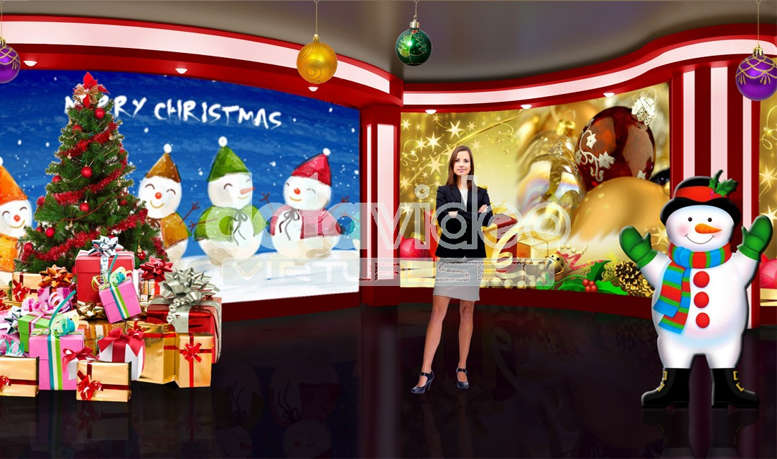 Christmas 003 TV Studio Set-Virtual Green Screen Background PSD