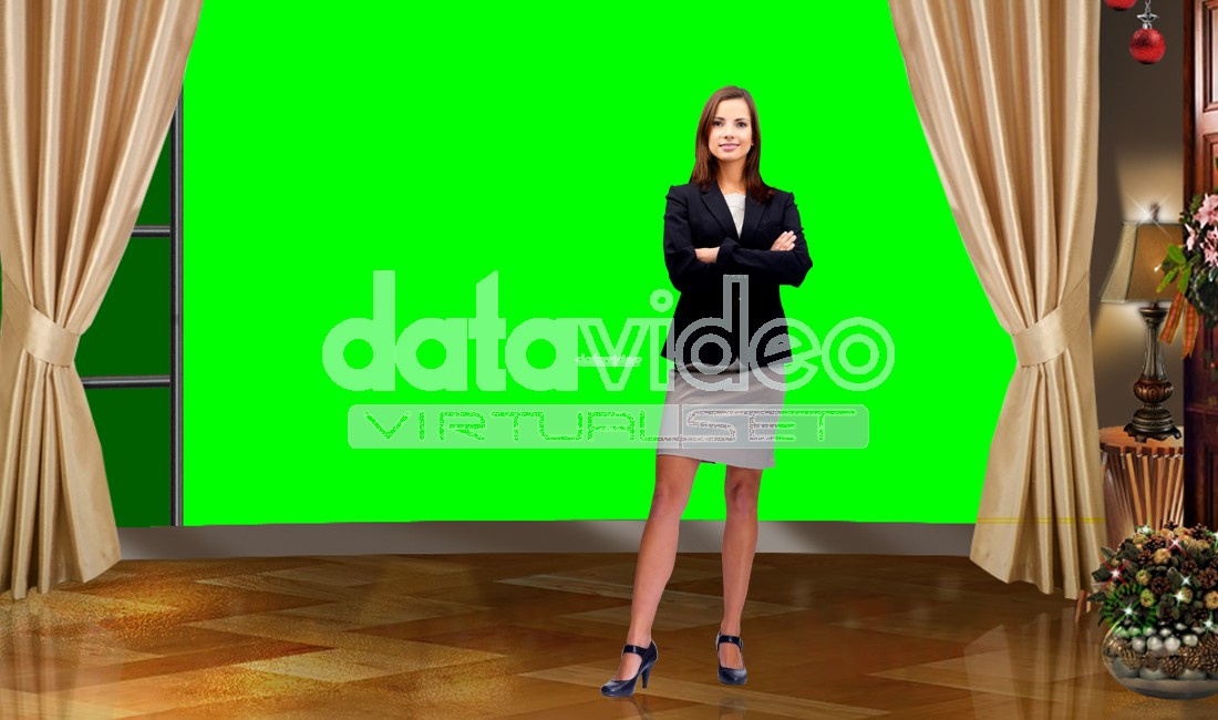 Christmas 002 TV Studio Set-Virtual Green Screen Background PSD