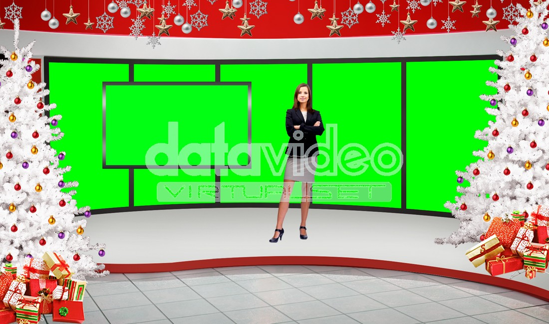 Christmas 001 TV Studio Set-Virtual Green Screen Background PSD