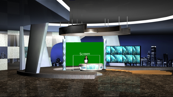 Multiple Screens Presentation Virtual Set