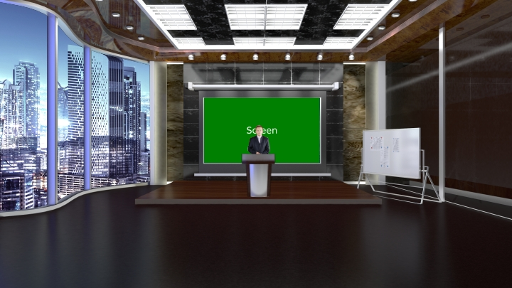 Classic and Low-key Conference Room Virtual Set