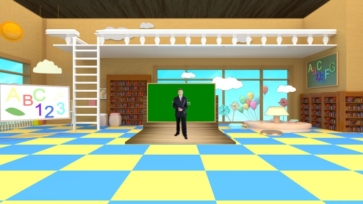 Colorful children's classroom virtual set