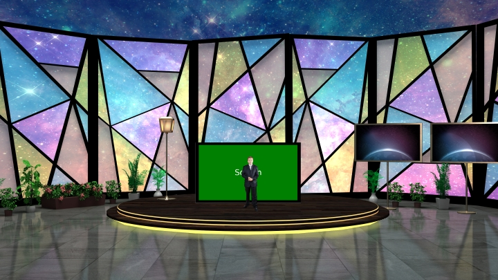 Color Glass Design with Starry Sky Background Virtual Set