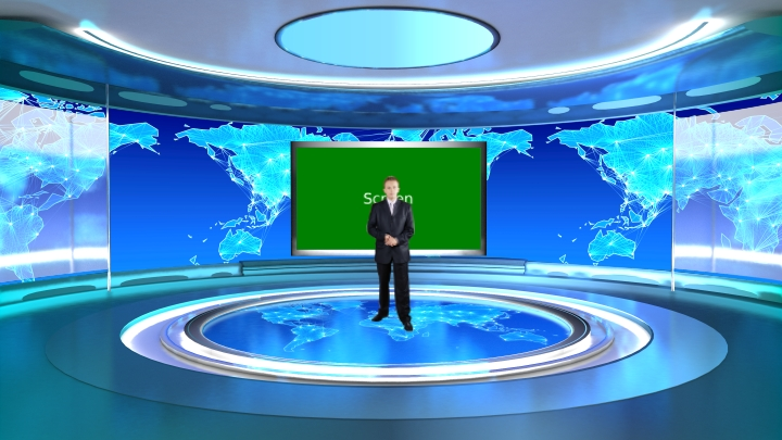 Professional Anchor Report Use Virtual News Set