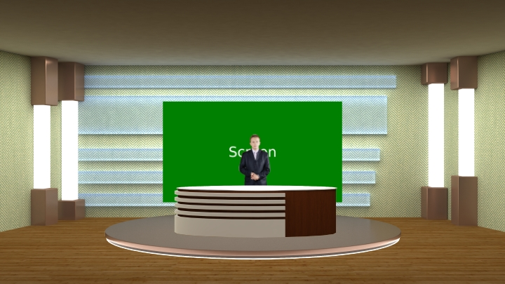 Simple and Bright Design Virtual Presentation Studio Set