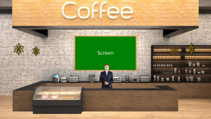 Coffee Store with Urban Night View Window Virtual Studio Set