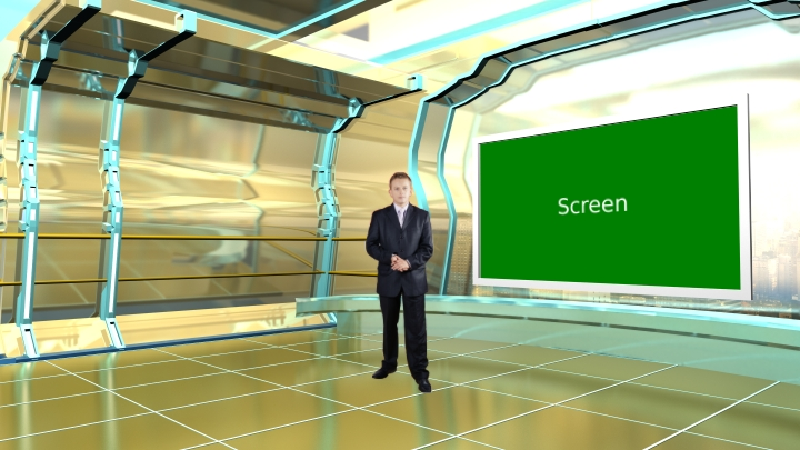 Golden Color and Science Fiction Style  Virtual News Set Studio
