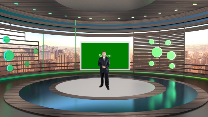 Brown color design with the round stage Virtual News Set Studio