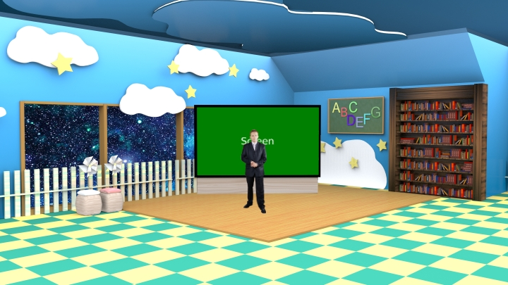 Happy Learning and Colorful Design of Education Virtual Set Studio