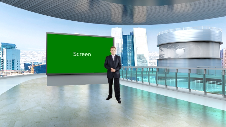Simple Style with Urban Landscape Design Virtual News Set Studio