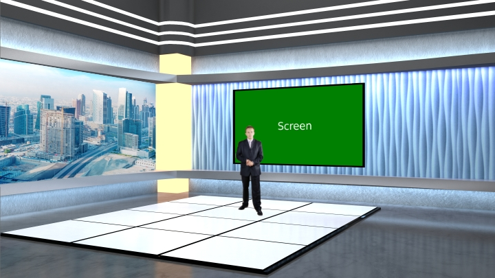 Asymmetry shape wallpaper and city view design Virtual News Set