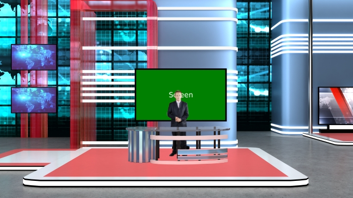 Geometric Lines and Colorful Design Sport News Virtual Set