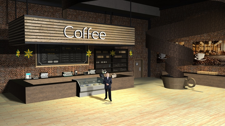 【TVS-2000A】Coffee Store Virtual Studio Set