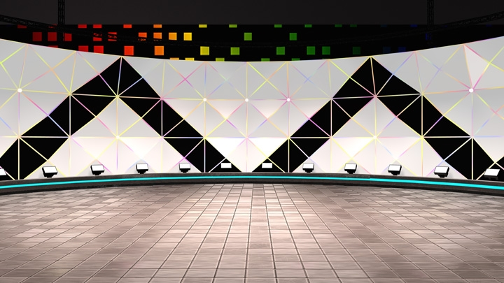 【TVS-2000A Template】Triangular Wall Virtual Sport News Set