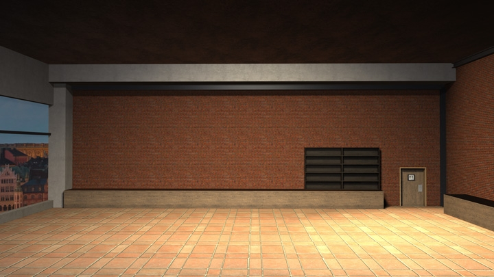【TVS-2000A Template】Coffee Store Background Virtual Studio Set
