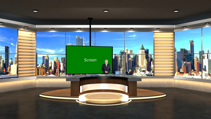 Dark Brown Color Style Virtual News Set