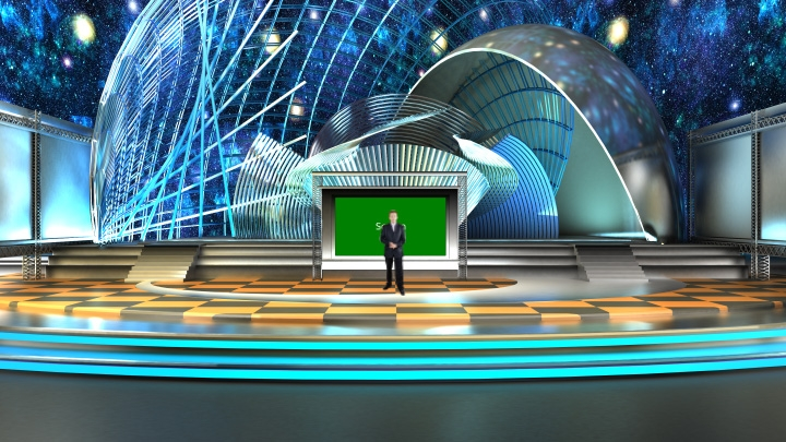Performance Stage with Space Background Virtual Set