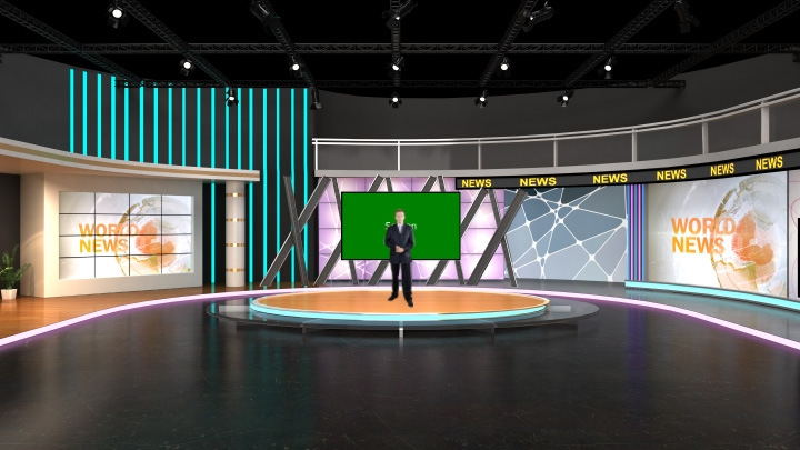 Arc Shaped Design Virtual News Set