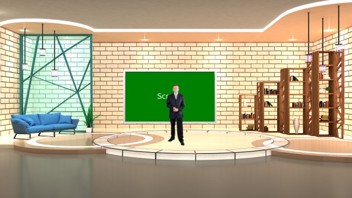 Bright Color Talk Show Virtual Studio