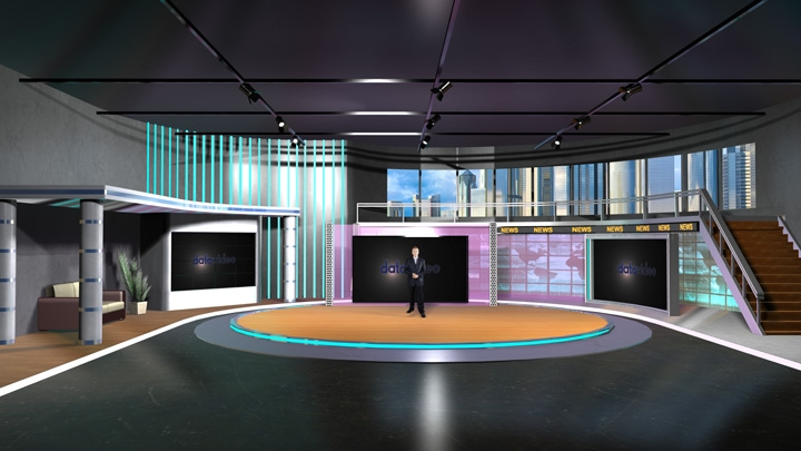 【TVS-2000A】Three Screens Design Virtual News Studio